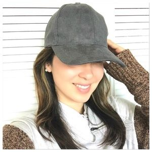 Gray Suede Soft Baseball Cap